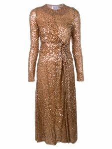 Galvan side slit sequin dress - Brown