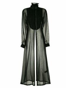 Isabel Benenato long-sleeved pleated bib dress - Black