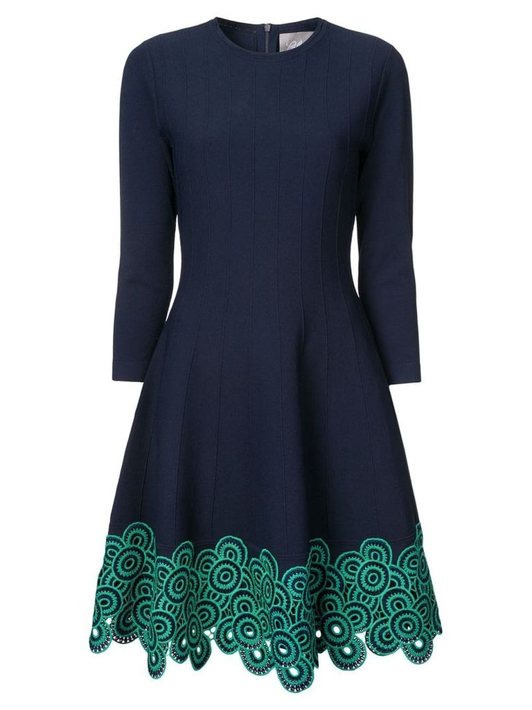 Lela Rose embroidered flared dress - Blue