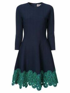 Lela Rose embroidered flared dress - Blue