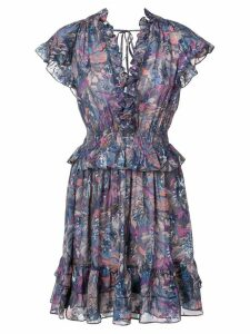 Rebecca Taylor floral flared mini dress - PURPLE