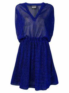 Just Cavalli metallic flared mini dress - Blue