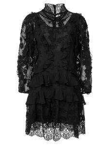 Rebecca Taylor ruffle long-sleeve dress - Black