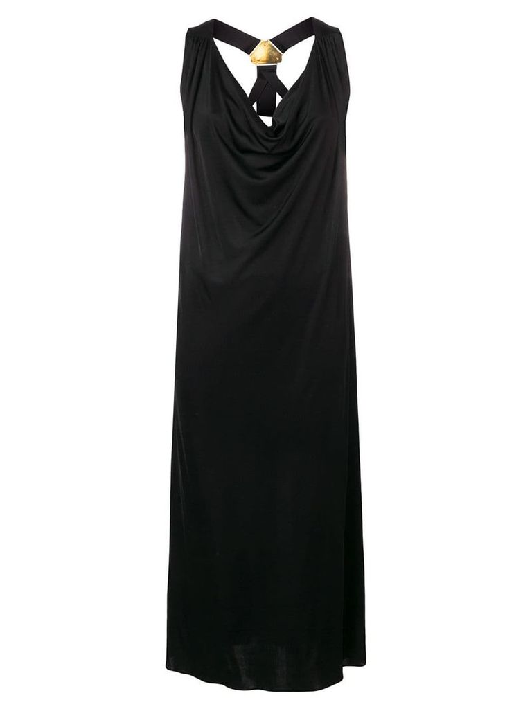Versus back logo plaque dress - Black