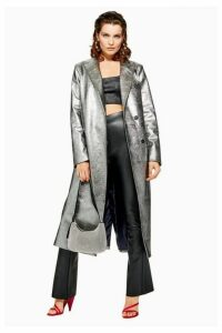 Womens Silver Textured Coat - Silver, Silver