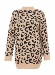 Womens *Quiz Towie Stone And Black Knitted Jumper Dress- Stone, Stone