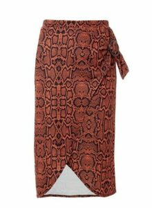 Womens Rust Snake Print Wrap Pencil Skirt- Red, Red