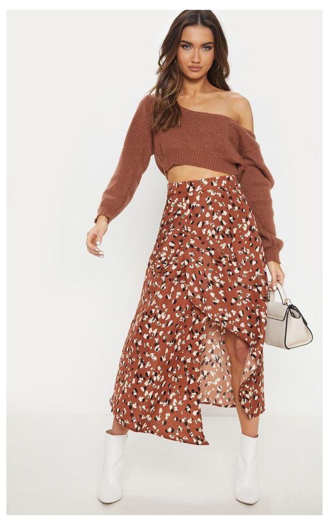 Tan Asymmetric Leopard Print Wrap Midi Skirt, Brown