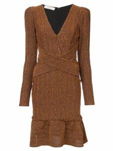 Patbo long sleeve lurex dress - Brown