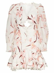 Zimmermann Corsage floral cut-out mini dress - White