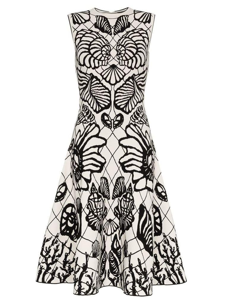 Alexander McQueen shell print flared skirt midi dress - White