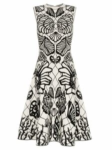 Alexander McQueen shell print flared skirt midi dress - White
