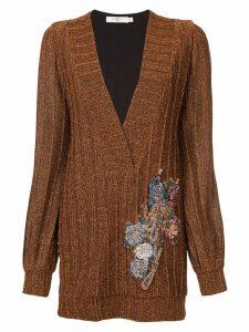 Patbo lurex embellished V-neck tunic - Brown
