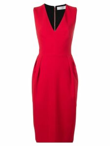 Victoria Beckham V-neck crepe dress - Red
