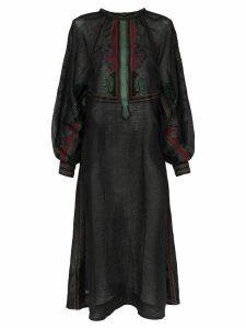Vita Kin Parajanov embroidered button down linen dress - Black