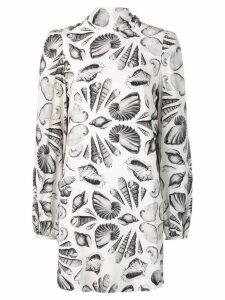 Alexander McQueen Shell print crepe dress - White
