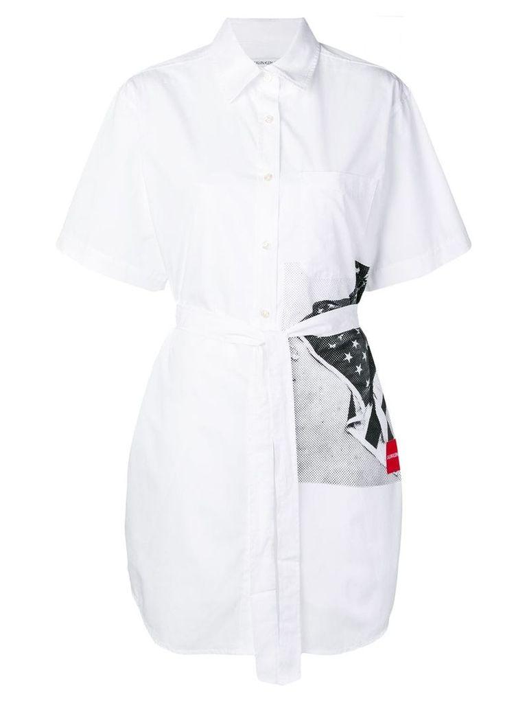 Calvin Klein Jeans flag print shirt dress - White