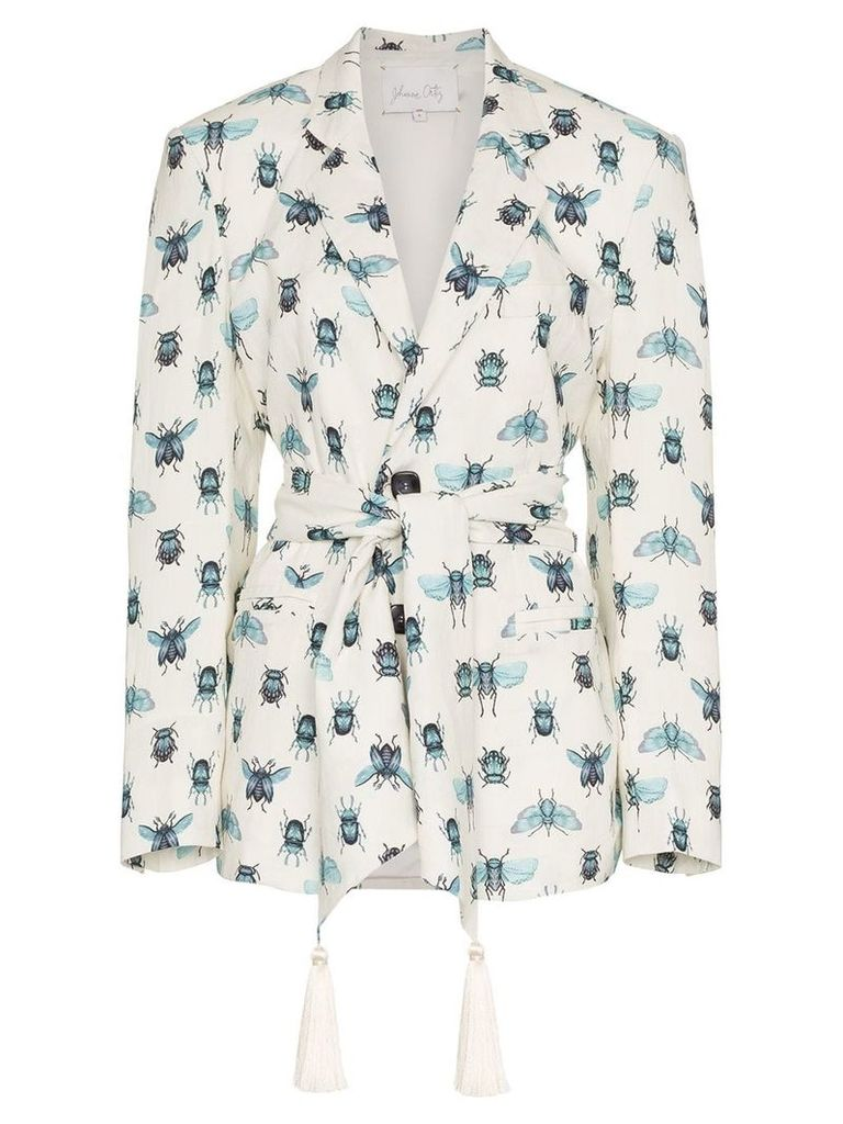 Johanna Ortiz La Comparsa insect print tassel blazer - White