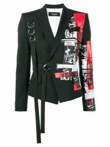 Dsquared2 Punk print buckled blazer - Black
