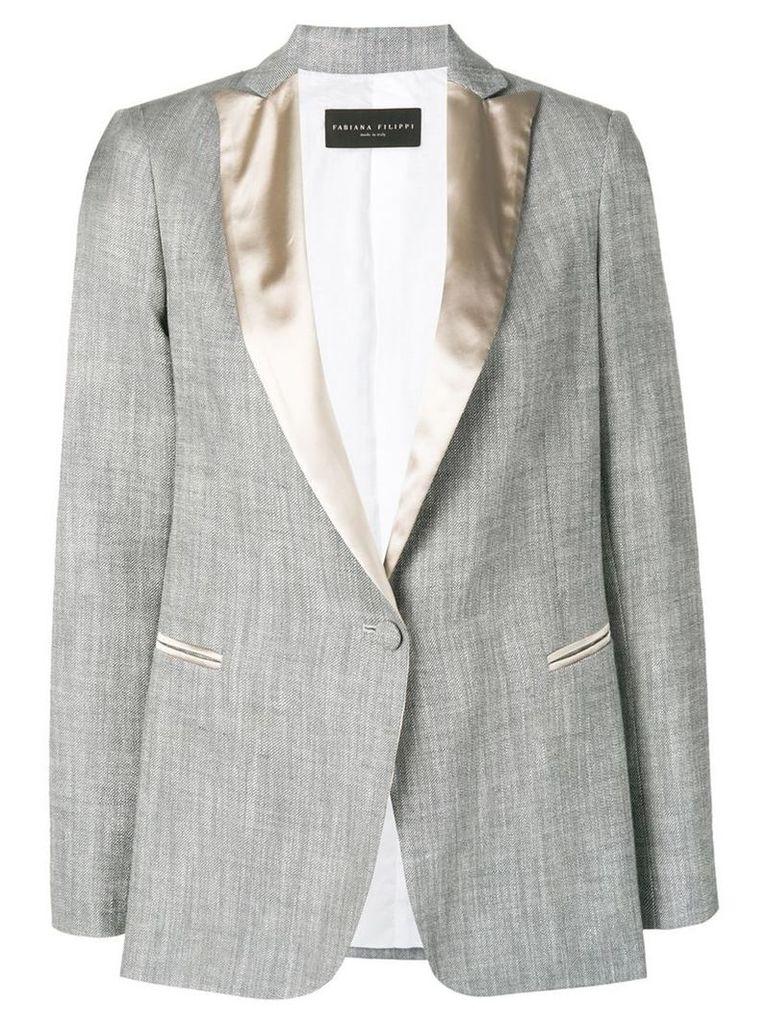 Fabiana Filippi contrast lapel blazer - Grey