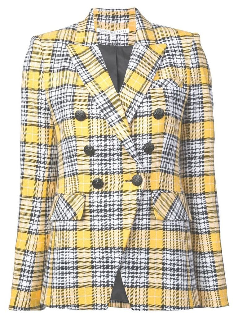 Veronica Beard checked double-breasted blazer - Yellow