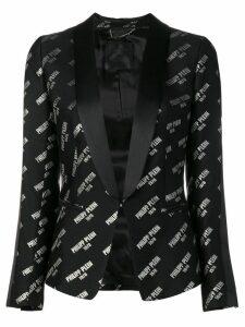 Philipp Plein multi logo tuxedo blazer - Black
