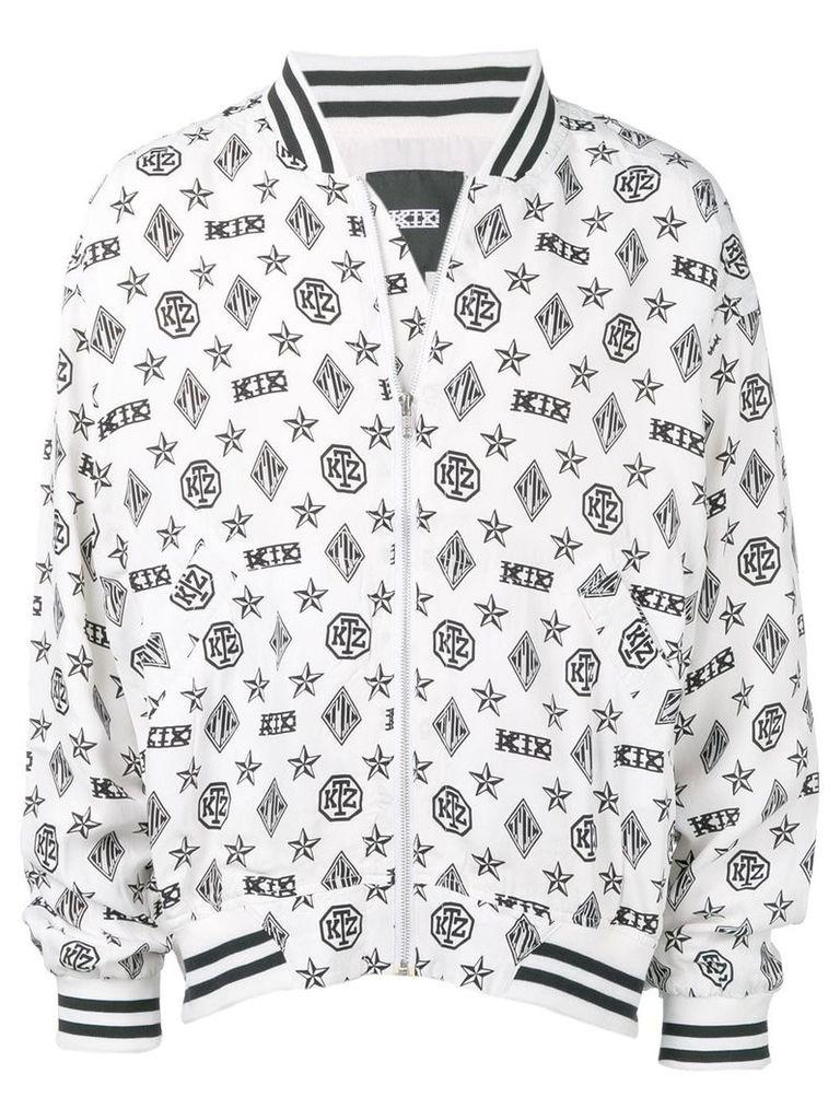 KTZ monogram print bomber jacket - White