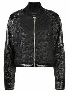 Yigal Azrouel laminated tweed bomber jacket - Black