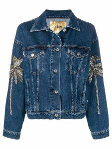 MSGM crystal embellished denim jacket - Blue