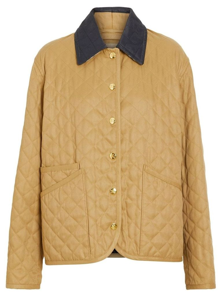Burberry Diamond Quilted Barn Jacket - Brown