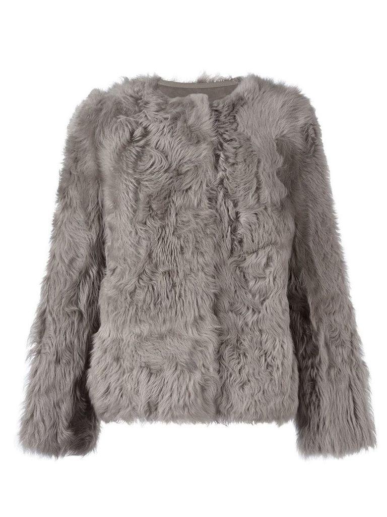 Yves Salomon collarless jacket - Grey