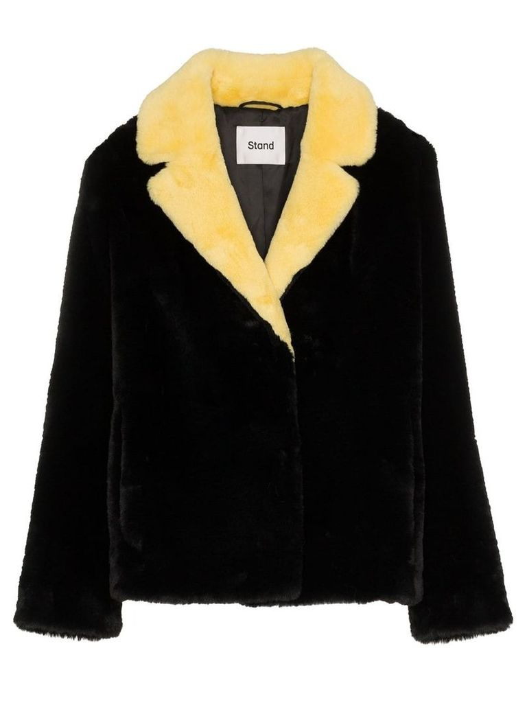 Stand Mariska contrast collar faux fur jacket - Black
