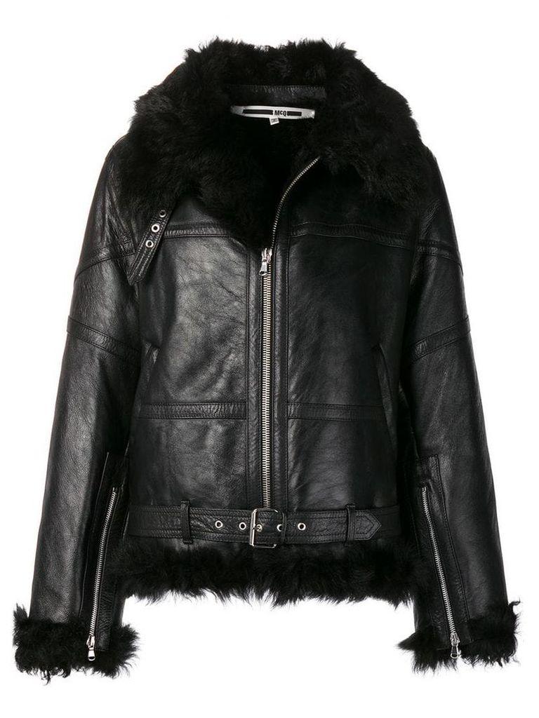McQ Alexander McQueen zipped shearling jacket - Black