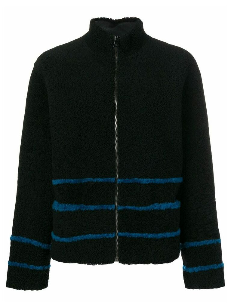 Inès & Maréchal striped shearling coat - Black