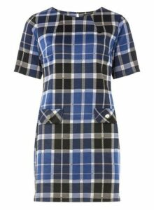 Womens Blue And Grey Checked Tunic- Blue, Blue