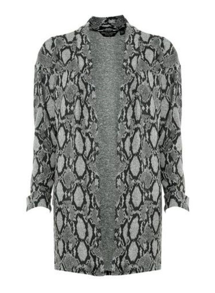 Womens Grey Snake Print Brushed Cardigan- Grey, Grey