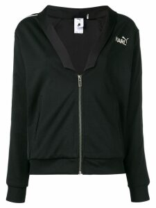 Karl Lagerfeld logo zipped bomber jacket - Black