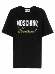 Moschino black embroidered couture logo cotton t-shirt
