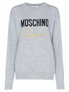 Moschino wool logo jumper - Grey