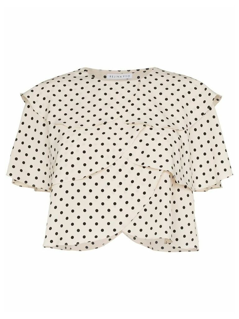 Rejina Pyo Scallop Layered Polka Dot Print Blouse - Neutrals