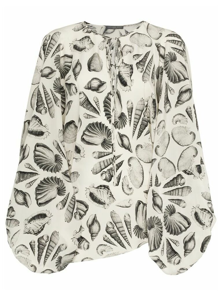 Alexander McQueen tie neck shell print silk blouse - White
