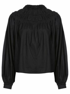 Proenza Schouler Poplin Shirred Turtleneck Top - Black