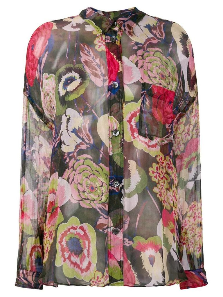 Aspesi floral sheer blouse - Green