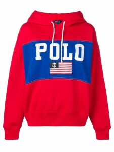 Polo Ralph Lauren flag print hoodie - Red