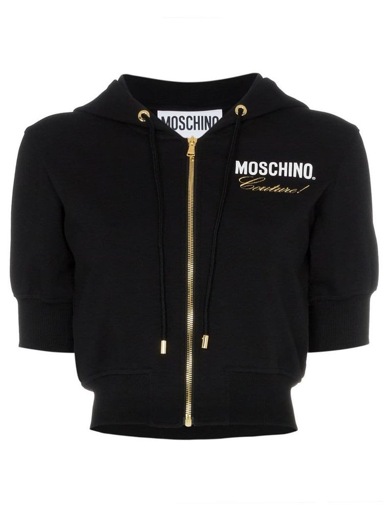 Moschino fitted cropped hoodie - Black
