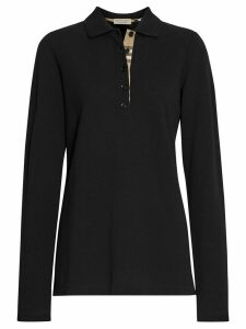 Burberry Long-sleeve Check Placket Cotton Piqué Polo Shirt - Black