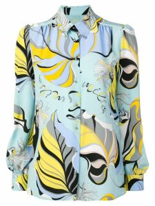 Emilio Pucci Crêpe De Chine Silk Frida Print Shirt - Blue