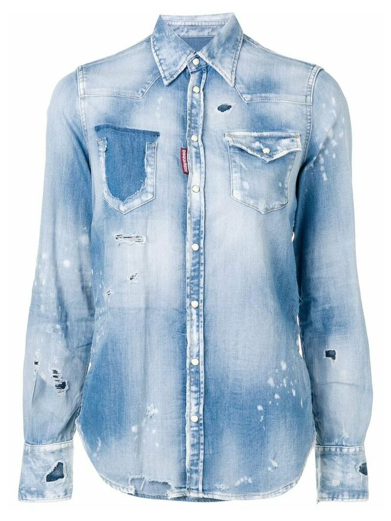 Dsquared2 ripped denim shirt - Blue