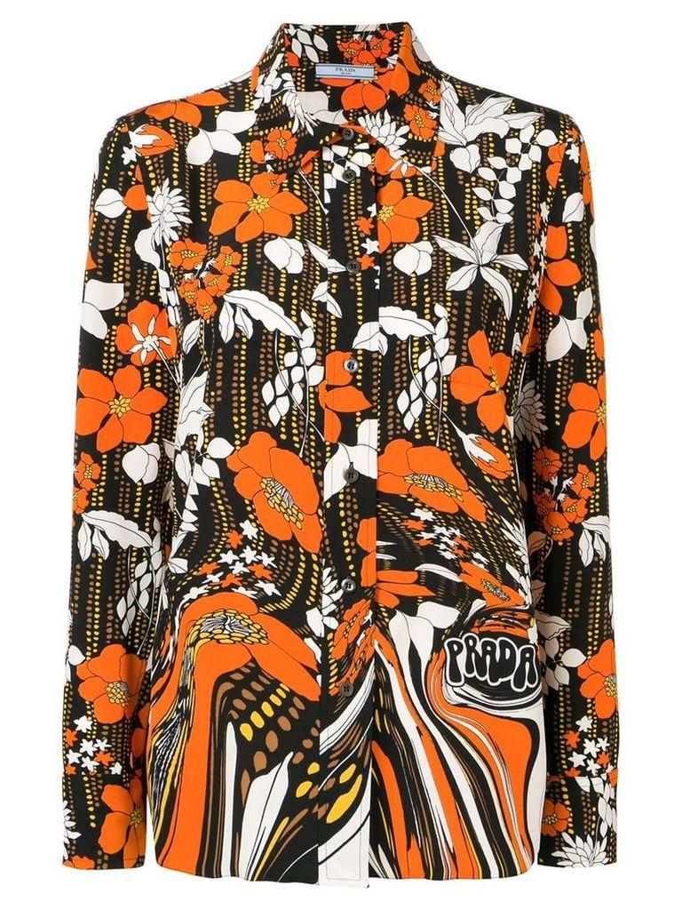 Prada floral print shirt - Black
