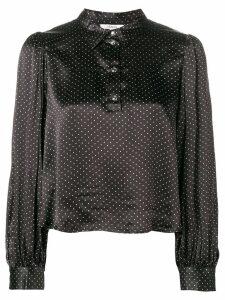 Ganni half buttoned cropped shirt - Black